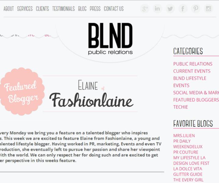 BLND PR: Featured Blogger
