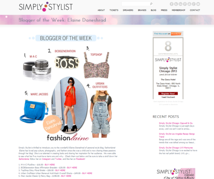 Simply Stylist: Blogger Of The Week